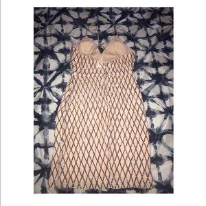 ee1cae40ba33 PromGirl Dresses - Promgirl Short Rose Gold Sequined Holiday Dress